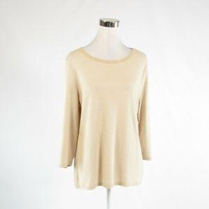 Lands' End beige cotton blouse L